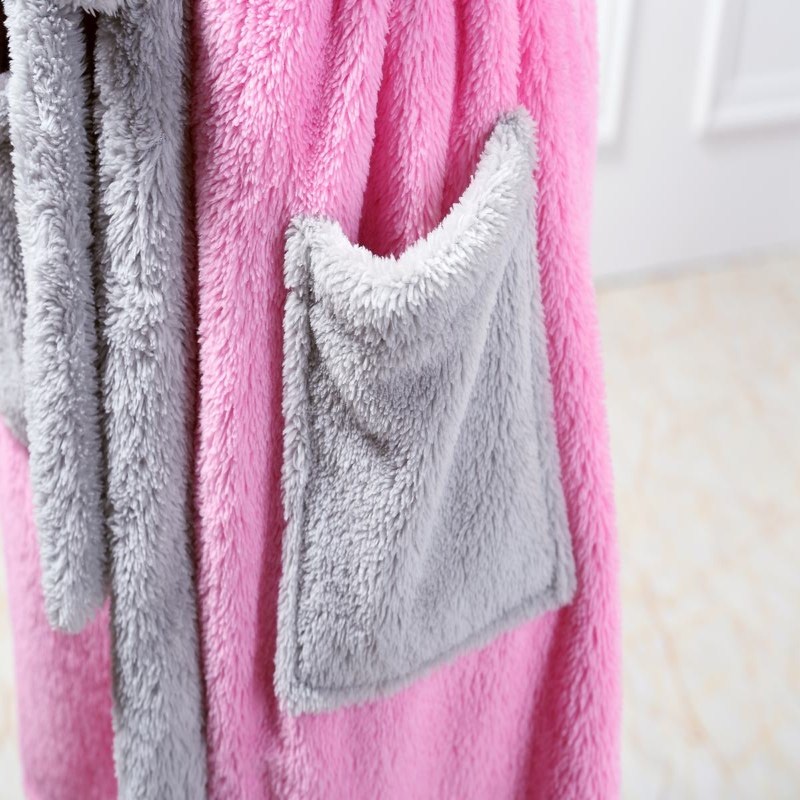 d8160a897a New Winter Autumn Women s Long Sleeve Pink Rabbit Bathrobes Thickening Home  Casual Sleepwear Soft Robe For Women-in Robes from Underwear   Sleepwears  on ...