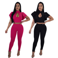 Women Solid Ruffles Sleeve 2 Piece Tracksuit Full Length Two Piece Set Tops And Pants Body Feminino B9066