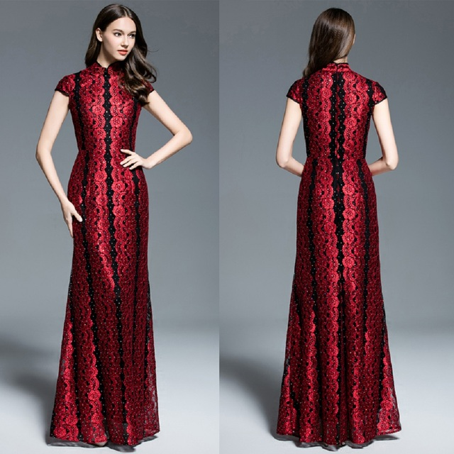 c637e986a7 B0005 New Burgundy Lace High-neck Sheath Formal wedding Women Prom Maxi  Ball Gown Dress Cap sleeves Full-length Jade