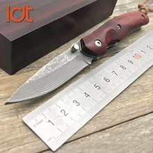 LDT KW08 Folding Blade Knife Damascus Blade Sandal Wood Handle Tactical Knife Camping Survival Outdoor Pocket Knives Tools EDC