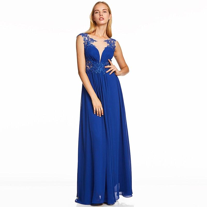 Tanpell Beaded Evening Dress Dark Royal Blue Cap Sleeves Floor Length A Line Dresses Women Scoop Prom Formal Long Evening Gown