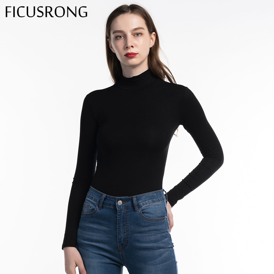 FICUSRONG 2019 New Woman Cotton Long Sleeve High Neck Skinny Bodysuit Autumn Winter Women Black Gray Solid Sexy Body Suit