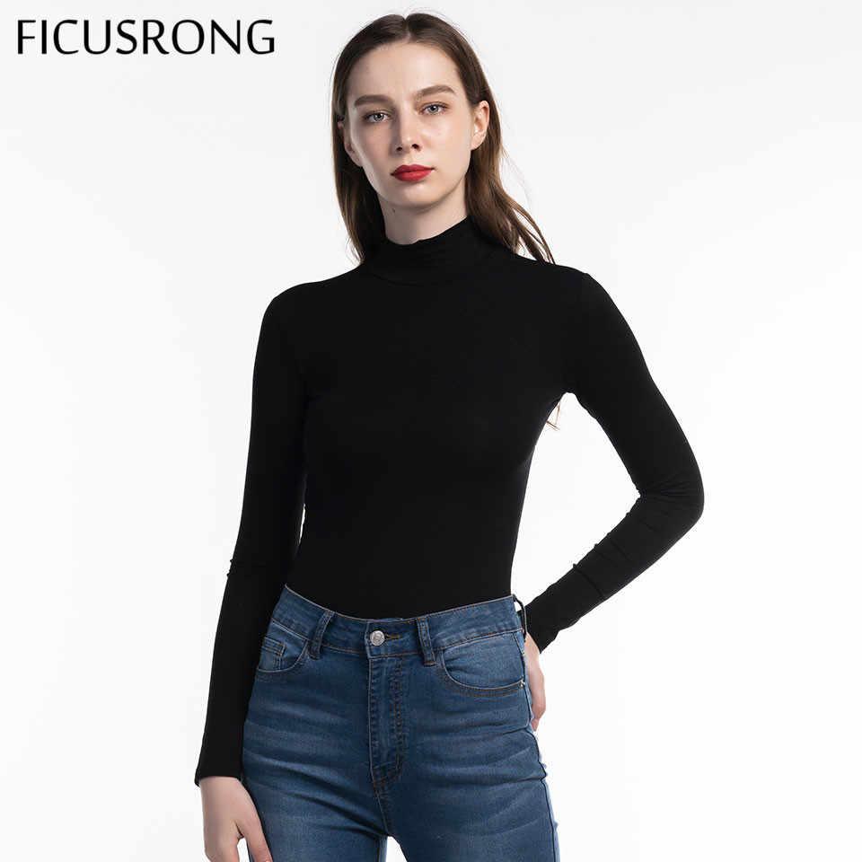 FICUSRONG 2019 Новый женский хлопковый облегающий боди с длинными рукавами и высоким воротом осень-зима женский черный серый однотонный сексуальное боди