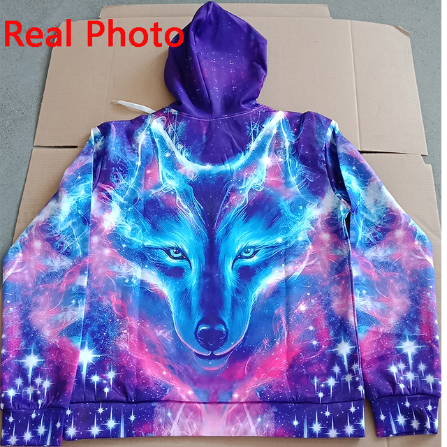 EUR Size Space Galaxy Wolf Hoodie Hoodies Men Women 2019 New Fashion Spring Autumn Pullover Sweatshirts Sweat Homme 3D Tracksuit 3