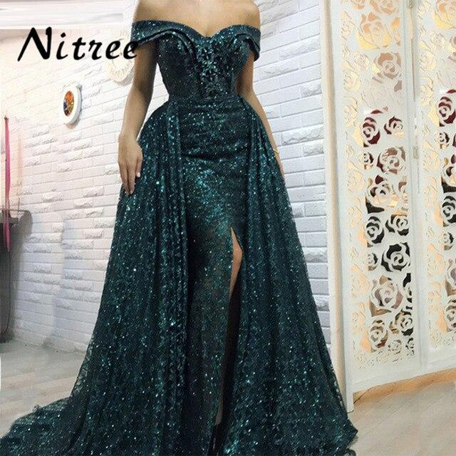 2018 Split Green Mermaid Formal Evening Dresses African Dubai Turkish  Arabic Prom Party Gowns Dresses For Weddings Abendkleider 08c2c9861e8f