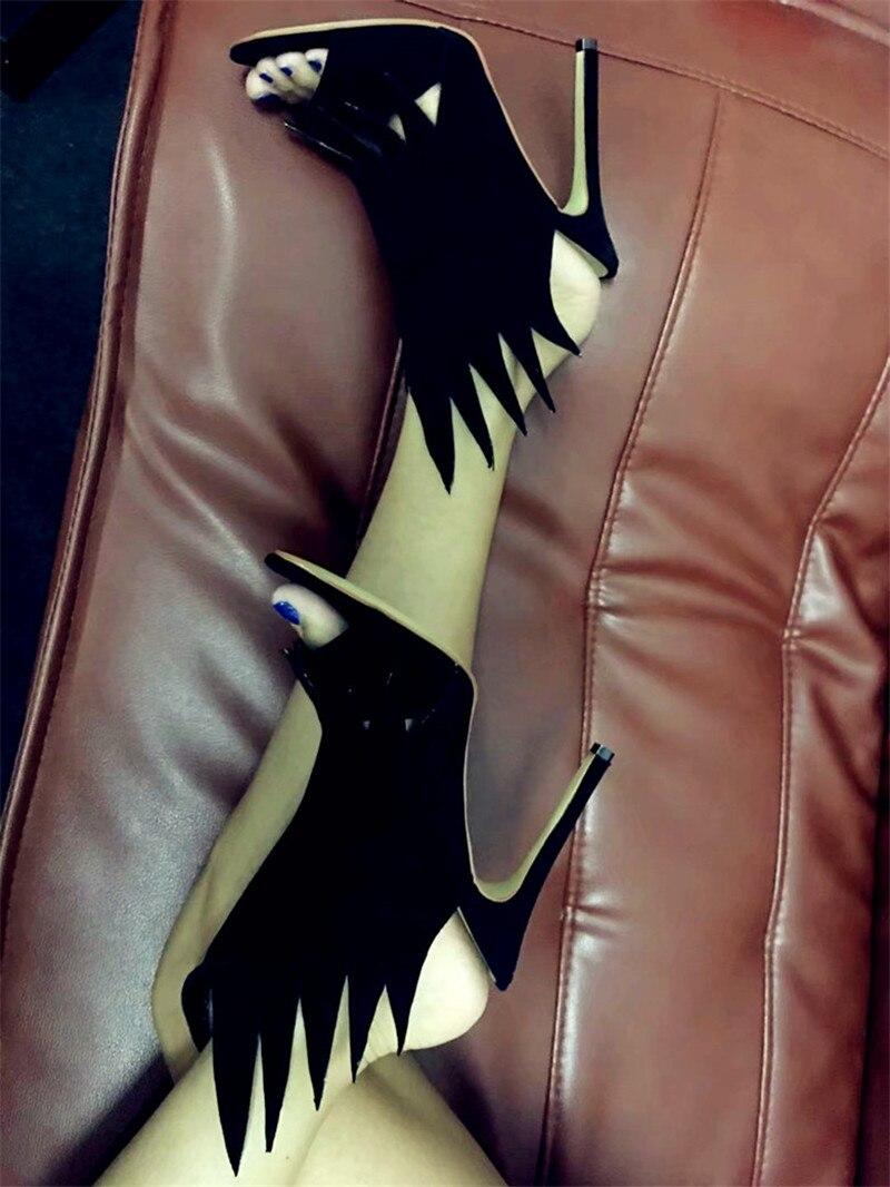 Bout D'été De Flamme Talon Slingback Rouge forme Black Chaussures Femmes red À Noir Scène Aiguille Sandales purple Ouvert Catwalk Spartiates w8wqOfZ