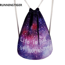Women Drawstring Bags Galaxy Space Printing Men Backpack Graffiti Canvas School Bags Backpack College Students Rucksack Mochila