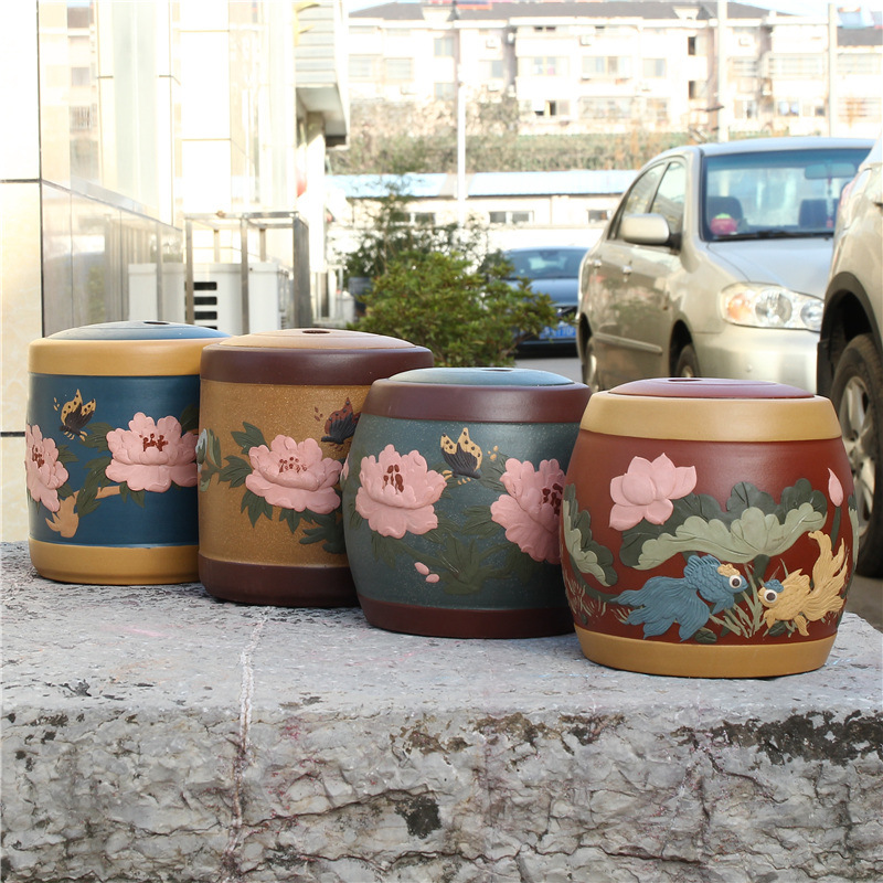 The factory direct number of authentic Yixing Zisha tea jar manual heap storage tank accessories store tea flower tea pot yixing zisha tea caddy authentic fine workmanship high grade tea pot square box mixed batch