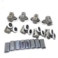 Clarmone 4pcs double upper and 4 pcs double down height adjustable chromed shower door parts, shower cabin sliding door rollers