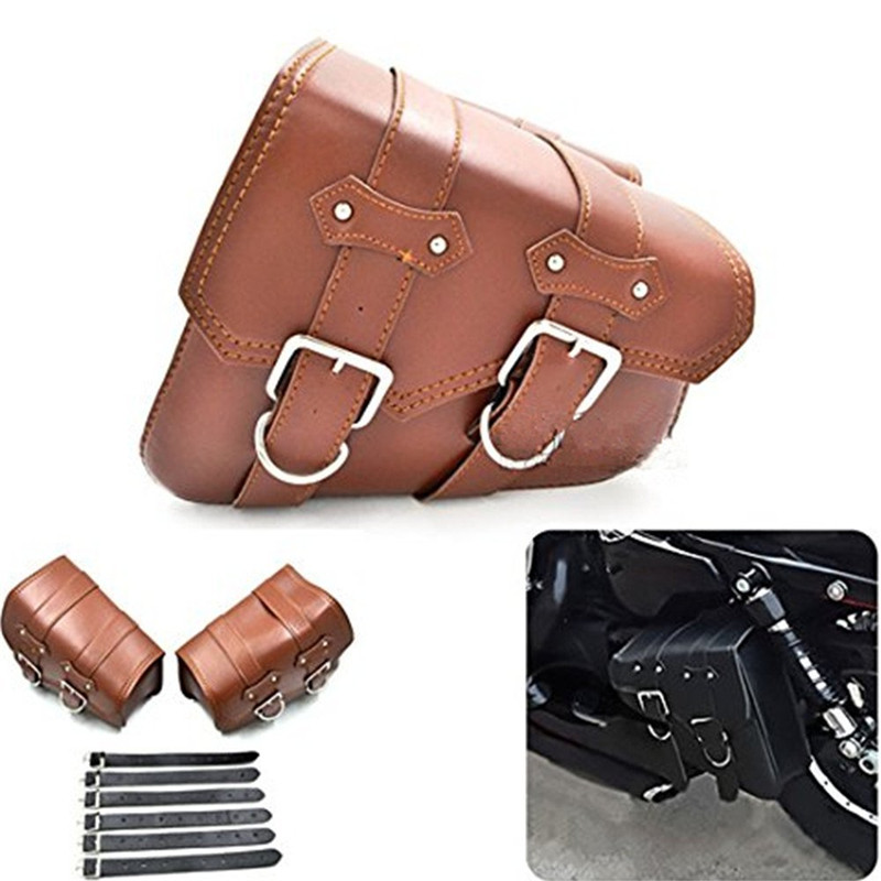 1 Pair (Left & Right) Brown PU Leather Right Solo Side Swing Arm Saddle Bag for Harley Davidson Dyna Sportster Cruiser Fat Bob