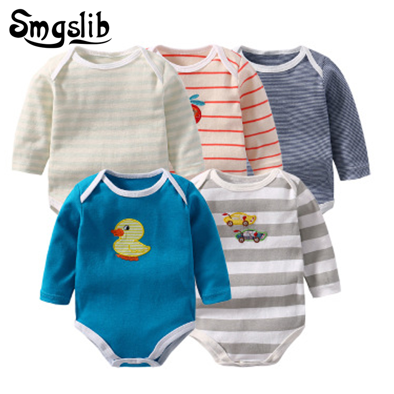 5 Pcs/lot Baby Romper Long Sleeves outfit Climbing jumpsuit baby onesie Pajamas Cartoon Printed Newborn Baby Boy Girl Clothes