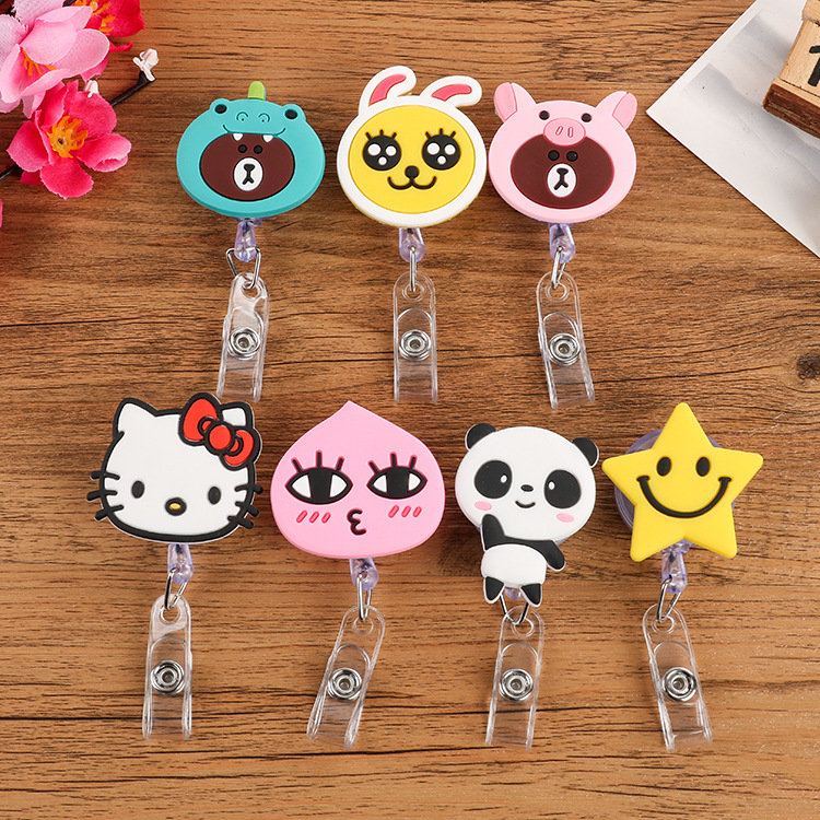 New Hot Fashion Cartoon Animal Work Card Clip Cute Panda Soft Rubber Easy Retractable Buckle Chest Clip