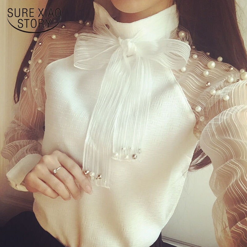 2018 New autumn women shirt bow Pearl White chiffon