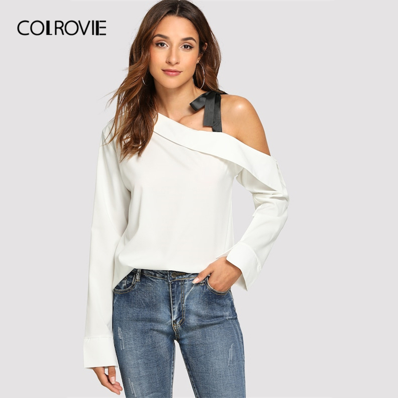 COLROVIE Beige Asymmetrical Neck Knot Chiffon   Blouse     Shirt   Women Tops 2019 Spring Workwear Elegant   Blouses   Office Ladies Tee