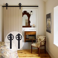 LWZH Vintage Style Industrial Wheel Single Sliding Barn Wood Door Hardware Track Kit J Shaped With