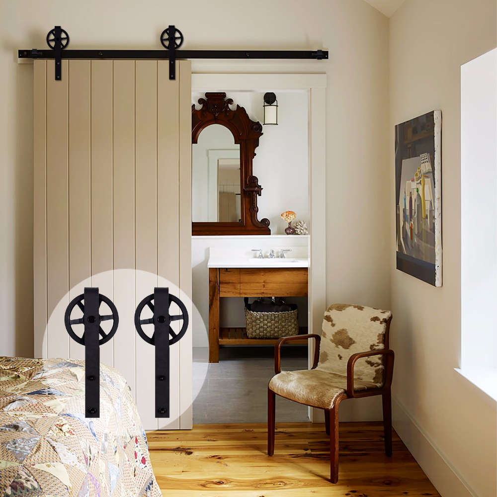 LWZH Vintage Style Industrial Wheel Single Sliding Barn Wood Door Hardware Track Kit J-Shaped With Big Rollers For Single Door