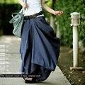 Nuevos Pantalones Casuales de Verano 2016 Faldas de Las Mujeres Diseño Casual Suelta Personalidad Irregular Bolsillo Otoño Pantalones de Las Mujeres