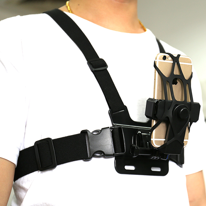 Adjustable Phone Clip Holder With Gopro Chest Belt/ Head Strap For IPhone Samsung Huawei Xiaomi Smartphone For Outdoor Sports