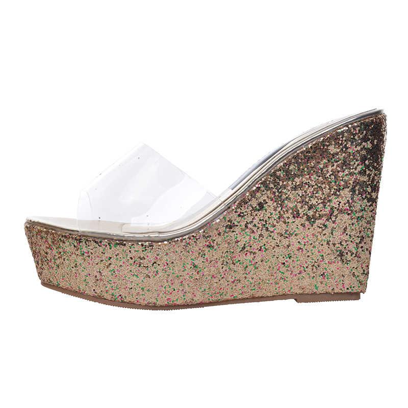 HEE GRAND Hoge Hak Wig Platform Slippers Vrouw Zomer Slides Fashion Glitter Zool Transparante Bovenste Schoenen Vrouw 34-40 XWT430