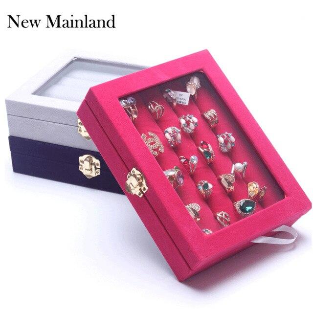 5c7b9be3ab4d Nuevo estuche de exhibición de joyería de moda joyero organizador  pendientes caja de anillo