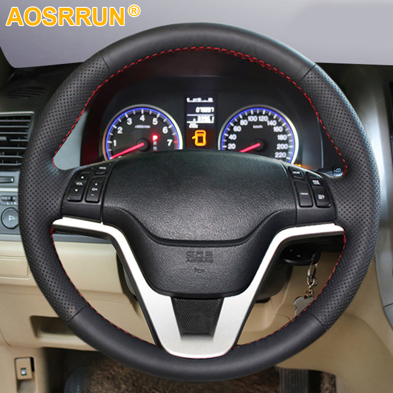 Car Accessories Leather Hand-stitched Car Steering Wheel Cover For Honda CRV CR-V 2007 2008 2009 2010 2011(China)