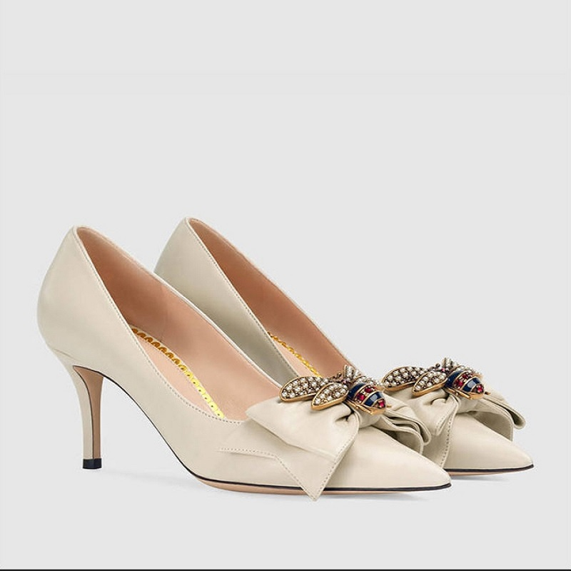 цена 2018 New high heel shoes, shallow mouth shoes with toe pointed bow decorated fashion.