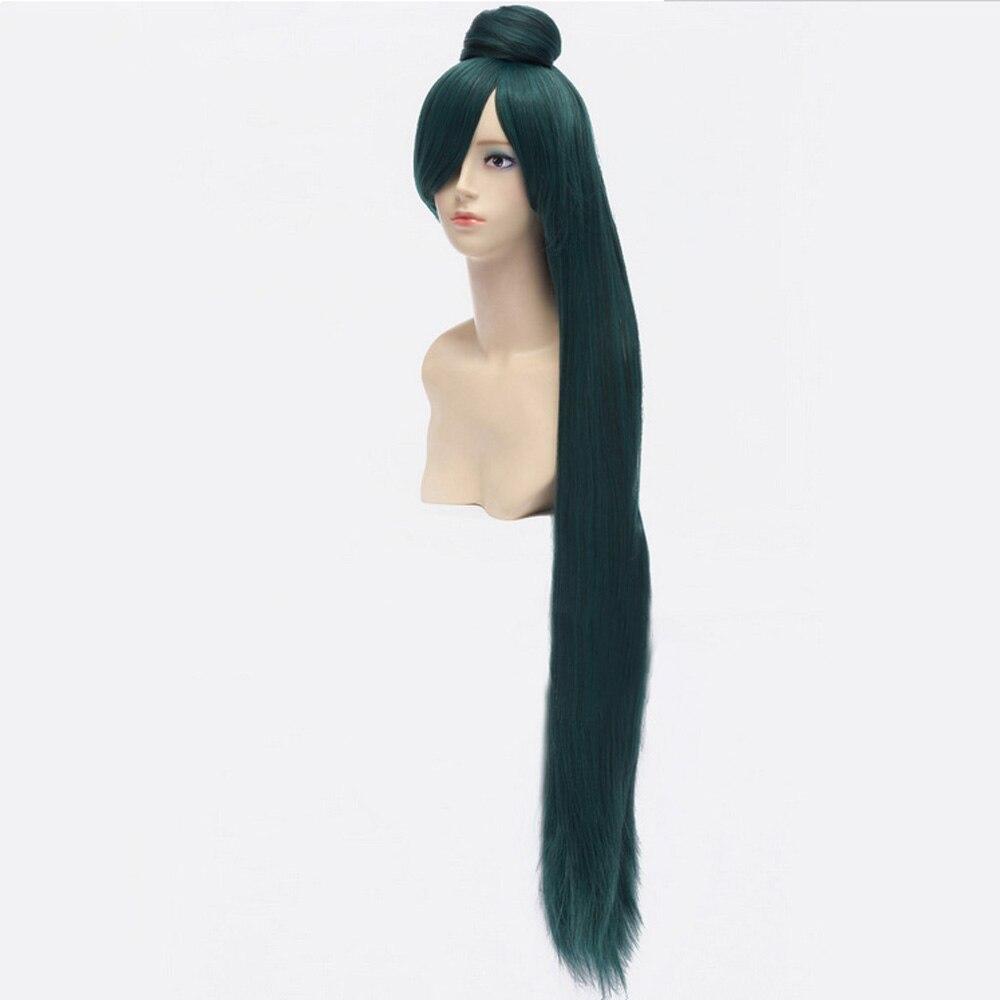 HAIRJOY Dark Green Sailor Moon Sailor Pluto Meiou Setsuna Cosplay Wig with Detachable Bun 100cm Long Straight Synthetic Hair 2