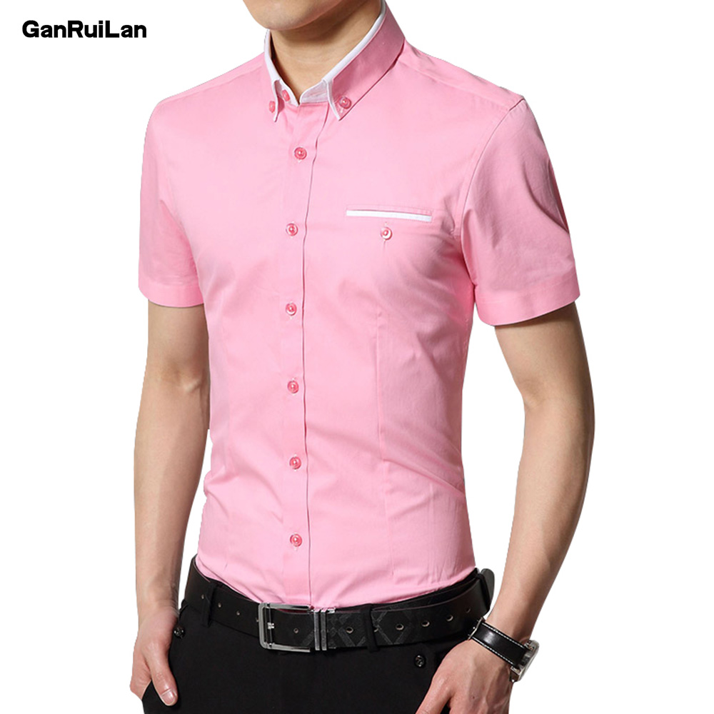 Men's Wedding 2018 Shirt Short Sleeve Men Shirt Business Solid Color Casual Shirts Work Wear Formal Slim Shirt Man CY18006