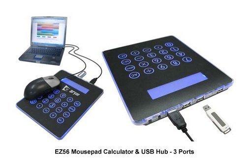 1pcs/lot 4 port USB HUB Mousepad calculator for PC Laptop Novelty gift