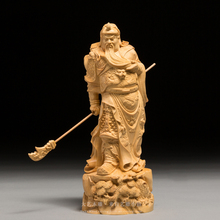 Wood people sculpture Dynasty Warriors Guan Yu vintage craft home decoration chinese Christmas gift historical figure Guan gong