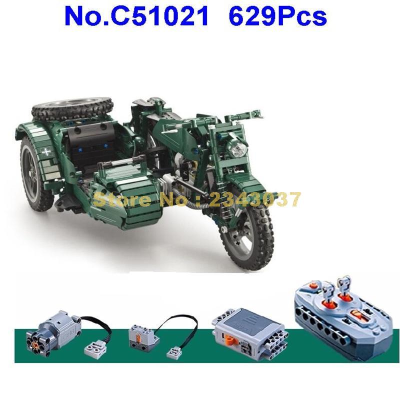 C51021 629 قطعة الحرب العالمية ii دراجة نارية تكنيك العسكرية التحكم عن بعد rc موتور بناء الالعاب العملاقة-في حواجز من الألعاب والهوايات على  مجموعة 1