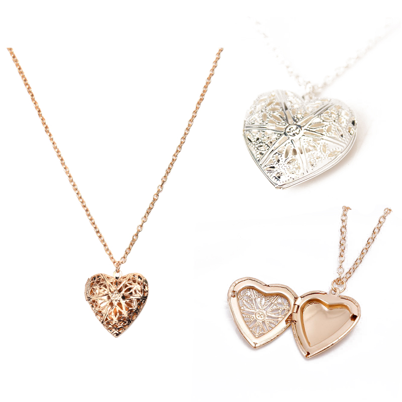 MINGQI Fashion Creative Heart Shape Hollowed Photo Secret Medallion Pendant Necklace Set Friends Couples Gifts Women Jewelry