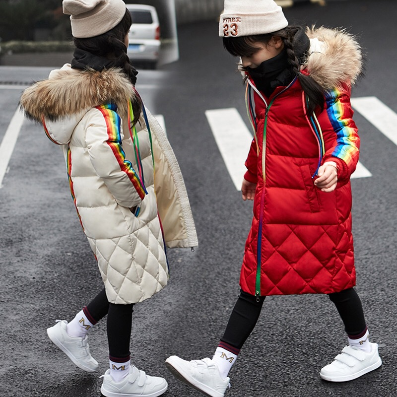 Winter Children Girls Down Jackets Thicken Fur Collar Hooded Child Down Coats Outerwear Overcoat Parkas 7-14 girl boys clothes 2018 girls clothing warm down jacket for girl clothes 2018 winter thicken parka real fur hooded children outerwear snow coats