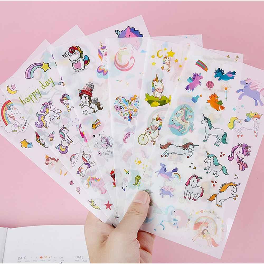 6 листов/упаковка Kawaii Единорог наклейки клей ремесло этикетка телефон тетрадь