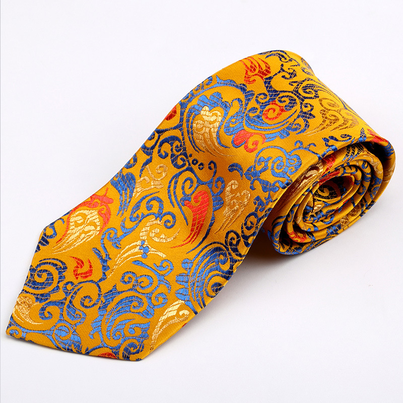 Auspicious Gift China Yunjin Tie Chinese Style Men Office Business Necktie Casual Tie For Wedding Traditional Craft Dragon Tie