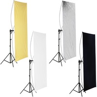 Neewer 31.5x59 inches/80x150 cm Flat Panel Light Reflector Gold/Silver and Black/White with 360 Degree Rotating Holding Bracket