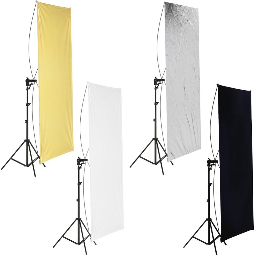 Neewer 31.5x59 pouces/80x150 cm réflecteur de lumière à écran plat or/argent et noir/blanc avec support de maintien rotatif à 360 degrés
