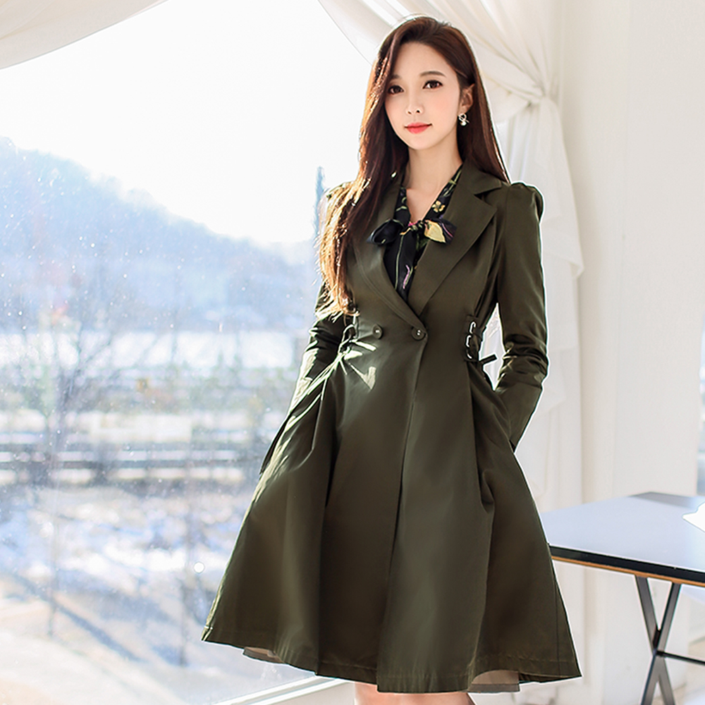 Dabuwawa Women Army Green Long Elegant   Trench   Coat Slim lace up Casual Swing Dress Windbreaker Outwear for Female Girl D18ATC010