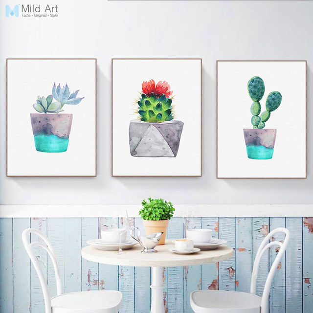 Watercolor Green Plant Flowers Cactus Posters Succulent Nordic Style Garden  Wall Art Pictures Living Room Decor
