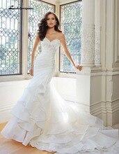 White Mermaid Wedding Dress beaded vestidos de novia Wedding Dresses Cascading Ruffles Pleat Bridal Gown custom
