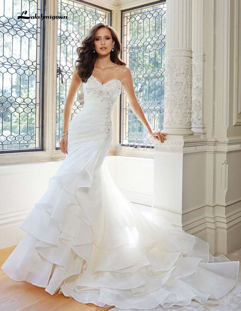 White Mermaid font b Wedding b font font b Dress b font beaded vestidos de novia
