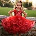 Красивый Тюль Опухшие Pageant Платья Красный Бальное платье Цветок девушка Платье Детей Платье Выпускного Вечера День Рождения Платье Для 7 Лет 2017