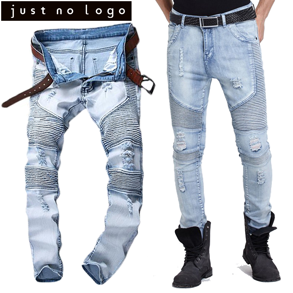 Men Tapered Stretch Denim Ripped Jeans Destroyed Damaged Biker Slim Fit  Skinny Straight Pants Blue Long Trousers-in Jeans from Men s Clothing on ... c9b2dcedad852