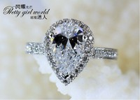 Victoria Wieck Stunning Pear Cut Simulated Diamond 925 Sterling Silver Engagement Wedding Ring Sz 5 11