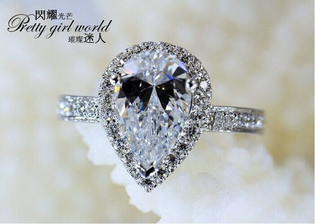 choucong Stunning Pear Cut 5A Zircon stone 925 Sterling Silver Engagement Weddin