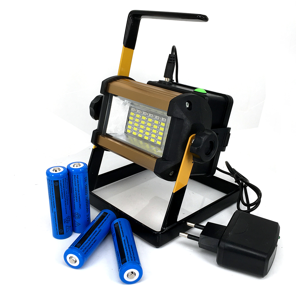 Super Bright 50W Outdoor LED Floodlight Rechargeable 36LED Camping Work Flood Light IPX6 ...