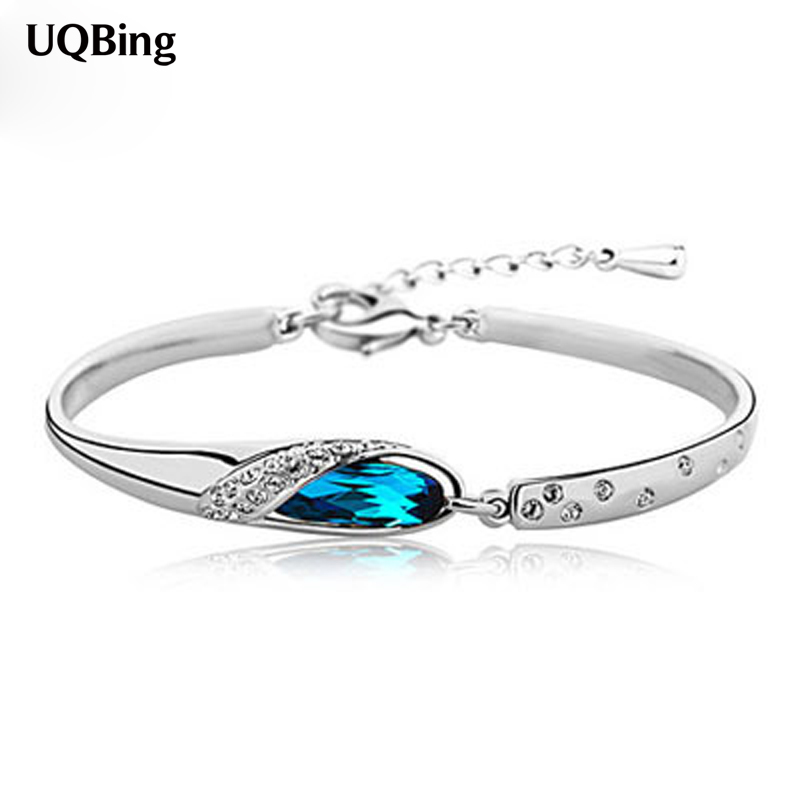 925 Pure Sterling Silver Bracelets Crystal Cuff Bracelets Jewelry Gift Srebrna Bransoletka Pulsera De Plata