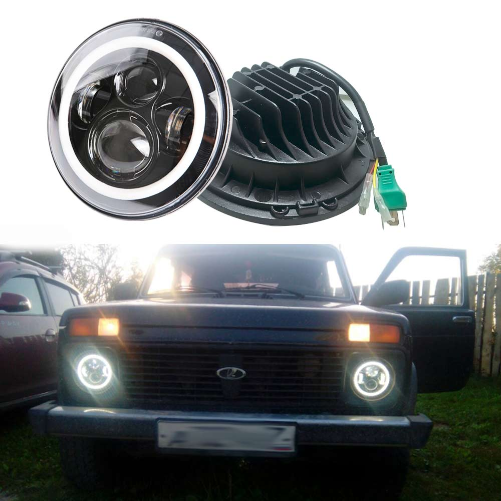For Jeep Wrangler JK CJ LED Car Halo Ring Round car Light Souce 2PCS H4 7 Inch 45W Angel Eyes Auto Headlight Kit DC10-30V Hi/LowFor Jeep Wrangler JK CJ LED Car Halo Ring Round car Light Souce 2PCS H4 7 Inch 45W Angel Eyes Auto Headlight Kit DC10-30V Hi/Low