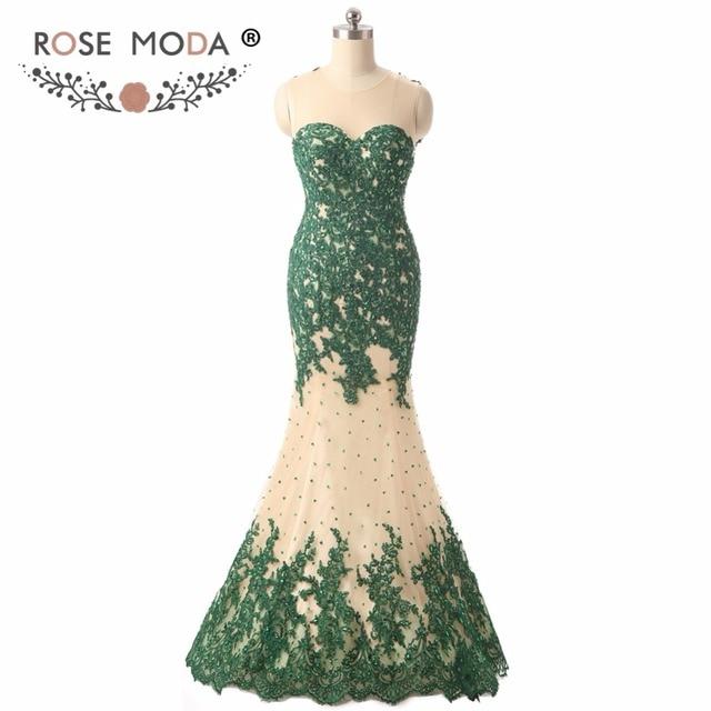 77b288e215 Rose Moda O cou sans manches vert dentelle sirène robe de bal Illusion  retour formelle pour invité fête mariage