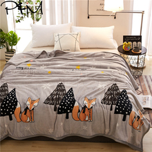 Papa&Mima Fox and tree print summer throw blankets coral fleece plaids multisize bedsheet multifunctional bedspread